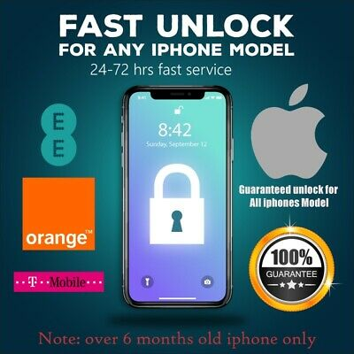 EE, Express Unlock Code service for iPhone XS,XR,X 8,7,6S,6,5S,5C,5 T-MOBILE,UK