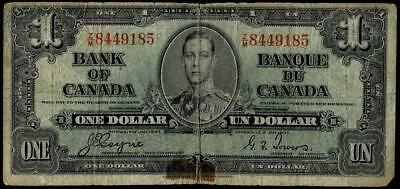 1937 $1 Dollar Banknote Bank Of Canada
