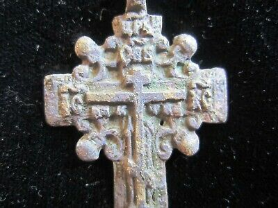 Approx-700 years old - AUTHENTIC LATE MEDIEVAL BRONZE CHRISTIAN CROSS PENDANT