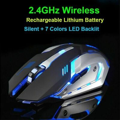 X7 LED Backlit Wireless USB Rechargeable Optical Ergonomic Gaming Mouse Mice II1