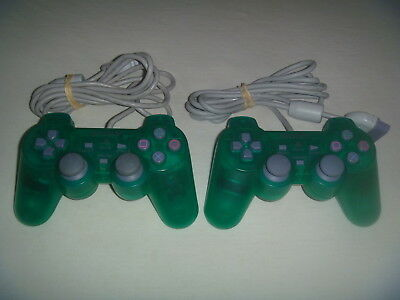 Official Sony Playstation 1 PSone Dual Shock Controller Lot of 2 Green SCPH-110