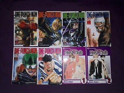 One Punch Man 1-6 + Ouran High School Host Club 1-2 Manga (Like New Condition)
