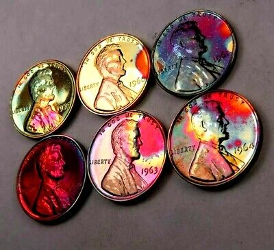 (6) 1959-1964 Lincoln Memorial Penny Lot // Gem Proof *Rainbow Toned* // (WL319)