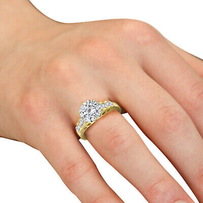 Solid 10K Yellow Gold Fancy Design Solitaire Engagement Ring Cubic Zirconia