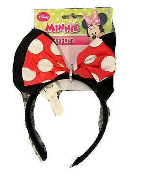 New Minnie Mouse Ears Costume Birthday Party Headband Bow Disney World