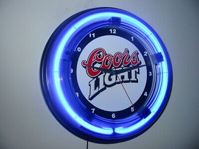 Coors Light Beer Bar Man Cave Advertising Blue Neon Wall Clock Sign