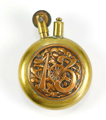 WWI French Trench Art Antique Cigarette Lighter Brass Copper No. 13 w/ Cannons