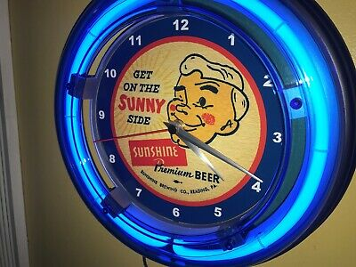 Sunshine Pennsylvania Beer Bar Man Cave Advertising Blue Neon Wall Clock Sign