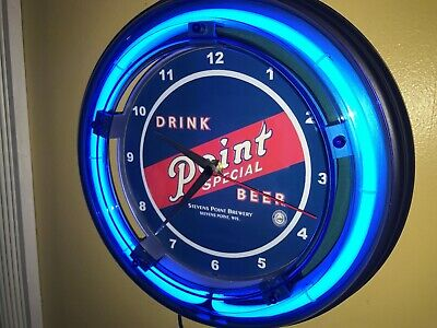 Stevens Point Beer Bar Man Cave Advertising Blue Neon Wall Clock Sign