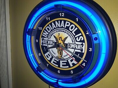 Indianapolis Brewing Co. Beer Bar Man Cave Advertising Blue Neon Wall Clock Sign