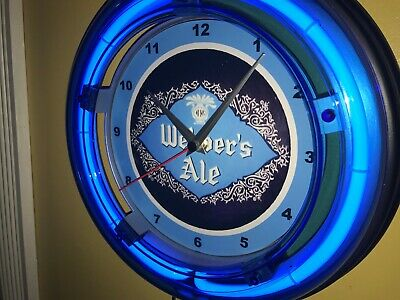 Webber's Ale Beer Bar Man Cave Advertising Blue Neon Wall Clock Sign