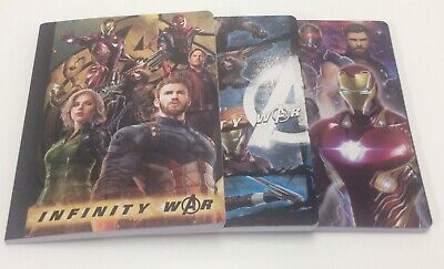 Marvel Infinity War Composition Note Books - 100 Wide Ruled Sheets - Set of 3