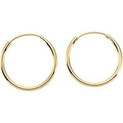 14K Yellow Gold Small Thin Endless Hoop Earrings 10mm - 12mm 14K Gold