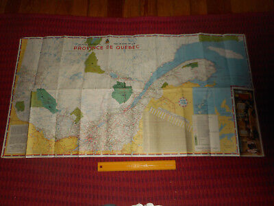 """1963 QUEBEC Road Map 42"""" x 22"""" French & English 1663 Soverign Council France Mtg"""