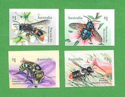 "2019 Australian "" Native Bees "" Set Of 4 S/A ~ From Booklets ~ Mint Un Hinged"