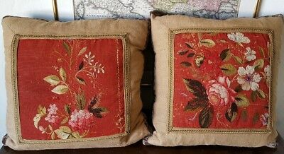 Pair Antique French Gobelins Floral Tapestry Pillows Aubusson Embroidery Velvet