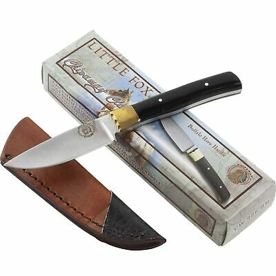 Frost Little Fox Buffalo Horn Handle Skinner Fixed Blade Knife with Sheath