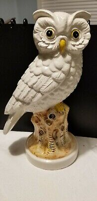 "Vintage Large Porcelain Owl Figurine Handpainted Made in Italy 10"" Tall"