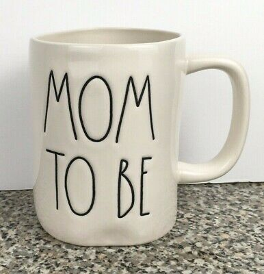 Rae Dunn MOM TO BE Coffee Mug Cup Magenta Artisan Collection LL Large Letter