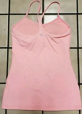 Lululemon Women's Power Y Racerback Yoga Tank  light Coral with Shelf Bra Size 6