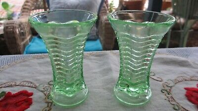 Vintage Pair of Early Green Depression Glass Vases  10 cms high each