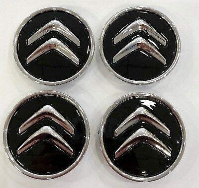 4x 60mm BLACK CITROEN C1 ALLOY WHEEL HUB CENTRE CAPS