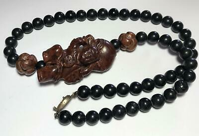 LARGE Vintage Chinese Carved Wood Netsuke & Stone Beaded Strand Necklace