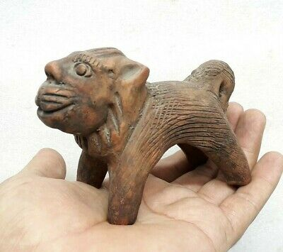 Antique Vintage Old Hand Crafted Clay Terracotta Made Lion Statue Figure Collect