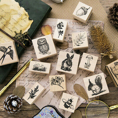 DIY Wood Mounted Rubber Craft Stamps Animal Plants Pattern Printing Wooden Block