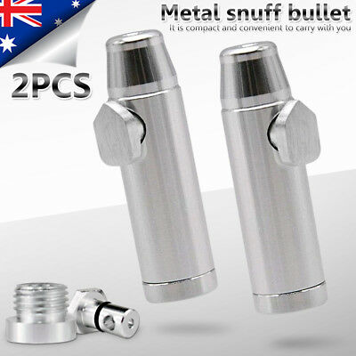 2x Snuff Metal Bullet Powder Dispenser Rocket Sniffing For Clubbing And festival