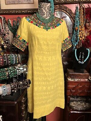 Beautiful Vintage Mexican Embroidered Oaxacan Yellow Dress Hand Made Size M