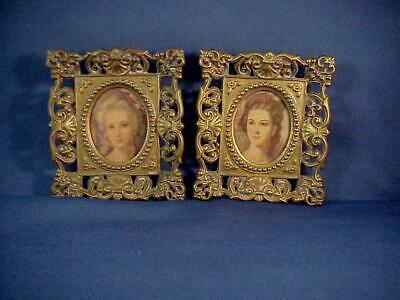 Pair Of Vintage Victorian Brass Metal Openwork Wall Hanging Picture Frames