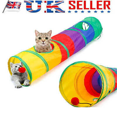 Collapsible 2 Way Tunnel Cat Pop Up Tube Toys Pet Rabbit Kitten Play House DG