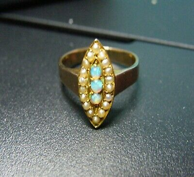 Victorian Opal & Pearl 9Ct Yell/Gold Navette Promise Ring. Superb.