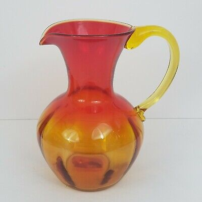 "Vintage BLENKO Amberina Orange Red Yellow Glass 10"" tall Water Pitcher Carafe"