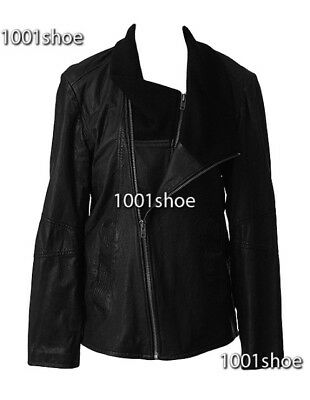 new RRP$600 WITCHERY MENS BLACK LEATHER COAT JACKET L last