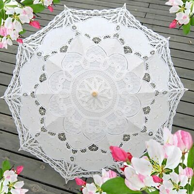 Victorian Women Handmade Parasol Umbrella Lace Cotton Party Wedding Bridal Decor