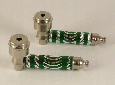 """USA Seller - 2pc - 3"""" Green Metal Dry Herb Smoking Pipes w/ Lids and 10 Screens"""