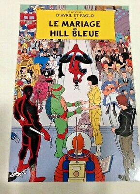CARTE POSTALE TINTIN  HOMMAGE A HERGE PASTICHE spiderman marvel
