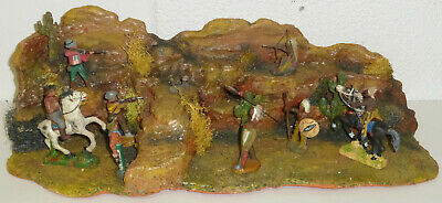 Wildwest Diorama 60 x 20 cm Cowboys vs. Indianer Elastolin Lineol Tipple Topple