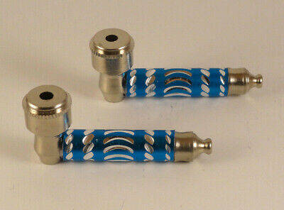 """USA Seller - 2pc - 3"""" Blue Metal Dry Herb Smoking Pipes w/ Lids and 10 Screens"""