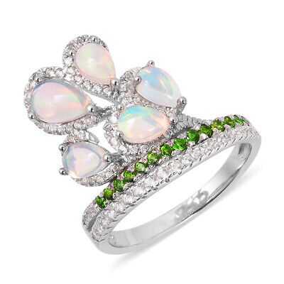 Opal Chrome Diopside Flower Ring Sterling Silver Jewelry for Women Size 6 Ct 2.8