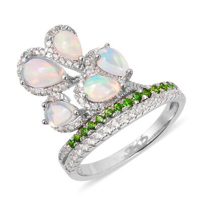 Opal Chrome Diopside Flower Ring Sterling Silver Jewelry for Women Size 9 Ct 2.8