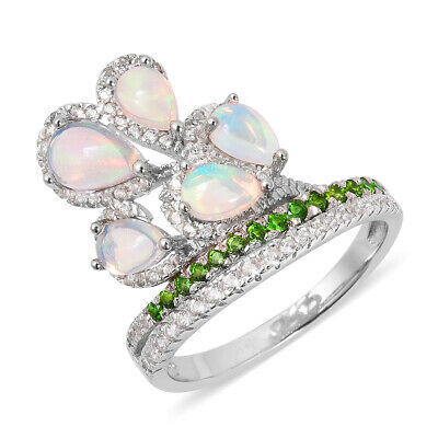Opal Chrome Diopside Flower Ring Sterling Silver Jewelry for Women Size 10