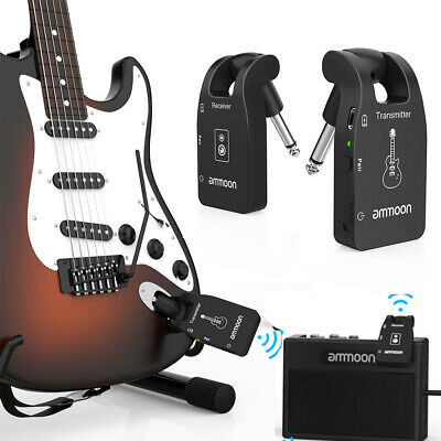 ammoon 2.4G Wireless Guitar System 6 Chs Rechargeable Transmitter Receiver A8I4