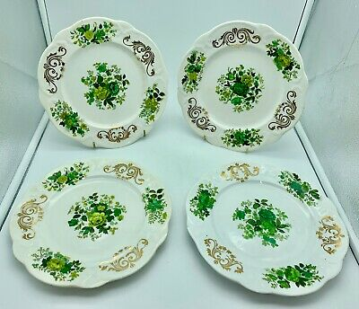 Antique Set 4 Rockingham Pottery Plates circa 1835