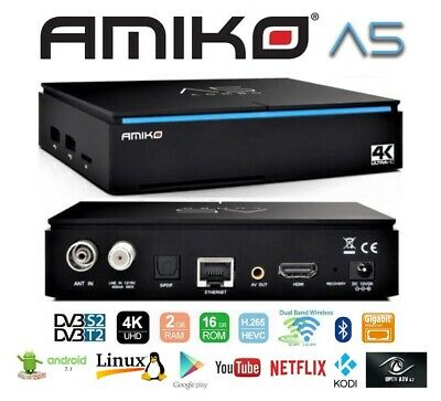 Decoder Amiko A5 Dualboot Android Enigma2 IPTV Wifi Combo 4K H.265 DVB-S2+T2/C