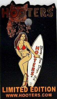 Hooters Biniki Calendar Girl Sherry San Diego Ca California White Surfboard Pin