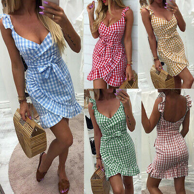 Sexy Backless Mini Skirt V-Neck Ruffles Beach Plaid A-line Bodycon Dress