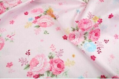 "Pink Floral 100% cotton fabric sold by the meter 63"" /160cm width 1709086"